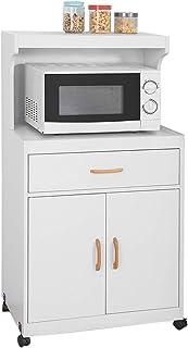 comprar comparacion SoBuy FSB12-W,Aparador Auxiliar bajo de Cocina con 2 Puertas y 1 cajón, para microondas,L62 cm x P40 cm x H119 cm,ES