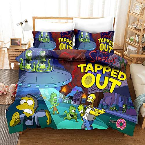 Juego de ropa de cama para adultos The Simpsons Boys Girls, diseño de dibujos animados 3D, 100 % microfibra (B,140 x 210 cm)
