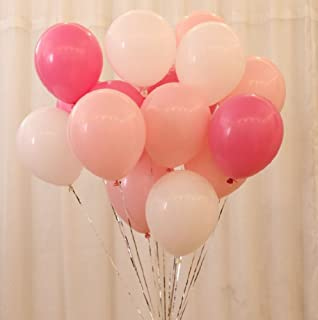 AnnoDeel 50 pcs 12inch Pink and White Balloons, Pearl Latex Balloons (Light Pink Balloons/Dark Pink Balloons/White Balloons) for Girl Birthday Party Wedding Decorations Romantic Party