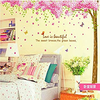 Amaonm Giant Huge Size Removable Pink Red Romantic Cherry Blossom Tree Wall Decal DIY PVC Butterfly Wall Decorations Art Decor Stickers Murals Wallpaper for Nursery Room Living Room Wall Corner