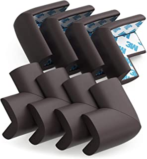 Soft Baby Proofing Corner Guards & Edge Protectors - 3M Pre-Taped Table Corner Protector, Child Safety Furniture Bumper, Sharp Corner Cushions, 8 Pack, Brown