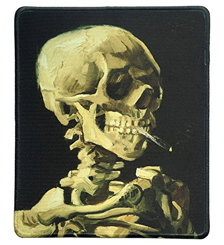 dealzEpic - Art Mousepad - Natural Rubber Mouse Pad with Famous Painting of Skull of a Skeleton with Burning Cigarette by Vincent Van Gogh - Stitched Edges - 9.5x7.9 inches