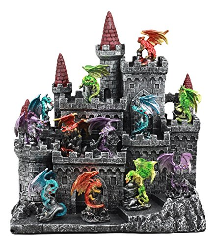 Ebros 12 Miniature Medieval Dragons with Castle Fortress Display Stand Figurine Statue 11' Tall Dragon Lair Casterly Rock Mini Dragon Display Set