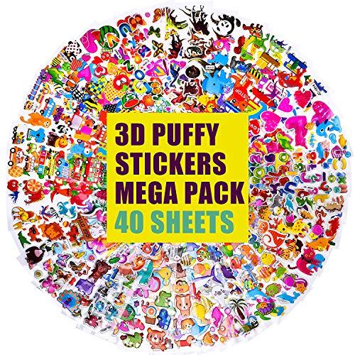 IKWOLETI 3D-Kinderaufkleber 1200+ geschwollene Aufkleber für Kinder Bulk-Aufkleber für Scrapbooking, Lehrer, Kleinkinder (40 Verschiedene Blätter)