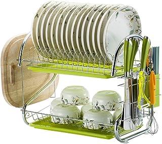 Organisateur de Rangement étagère de Cuisine, étagère de Rangement à Vaisselle Double Fer forgé ménage Multifonction étagè...