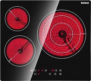 Karinear Plaque de cuisson en céramique intégrée 3 feux, Table de cuisson électrique en verre cristal noir avec commande t...