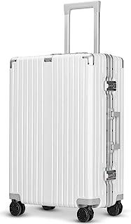 [クリアランスセール]Langxj hj スーツケース アルミフレーム 耐衝撃 キャリーケース 機内持込 キャリーケース 軽量 キャリーバッグ 人気 大型 TSAロック付き 静音 旅行出張6021 (S, ワイト)