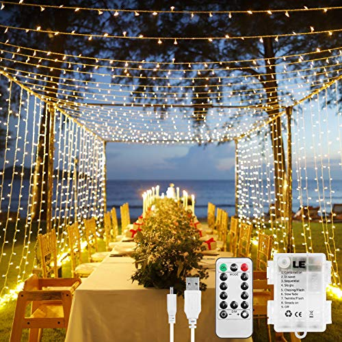 LE Fairy Curtain Lights Battery Operated, USB Powerd Gazebo Lights