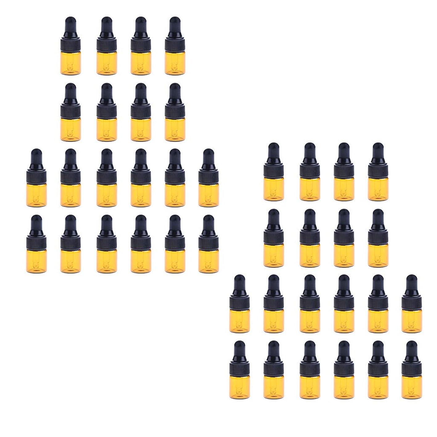 シェフ考えたショッキングHellery ガラス小瓶 ガラス容器ミニボトル ドロッパーボトル 精油 詰め替え可 スポイトボトル 保存容器 40個