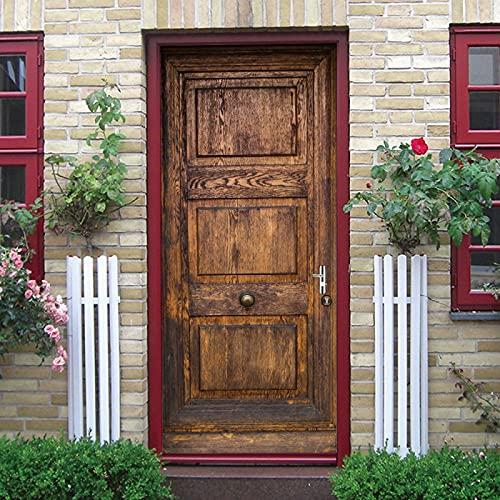 LuSeven pegatinas 3d Grano de madera puerta de madera marrón 90x215cm(35.43 inches * 84.64 inches) xtraíble Impermeable DIY Adhesivo Decorativo de Puerta Autoadhesivo de Bricolaje Pegatinas de Pared D