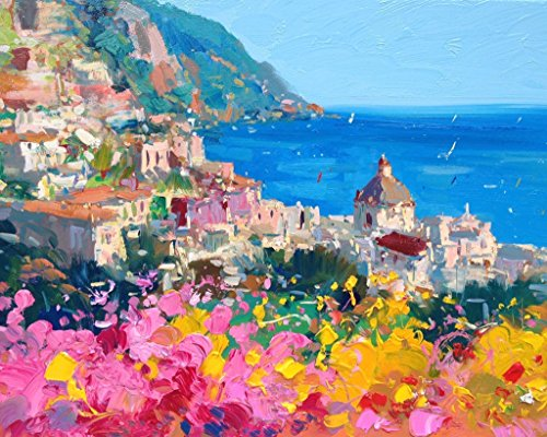 Romantic Positano Fine Art Print on Paper and Canvas (8x10 11x14 16x20 20x25 24x30 30x38) Amalfi Italy Coast Wall Art Home Decor Kitchen Living Room Bedroom Christmas Gifts for Her Agostino Veroni