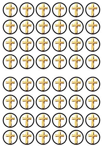 Decoración comestible para magdalenas con forma de cruz, bautizo, comunión de 48 unidades, de vainilla dulce, papel de arroz
