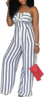 Women's Sexy Spaghetti Strap Stripe Jumpsuits Casual Wide Leg Long Pants Rompers Sleeveless Ladies Outfits