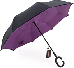 WASING Double Layer Inverted Umbrella Cars Reverse Umbrella, Windproof UV Protection Big Straight Umbrella for Car Rain Ou...