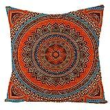 Tamengi Funda de cojín de lino y algodón con diseño de mandala para sofá de 45,7 x 45,7 cm