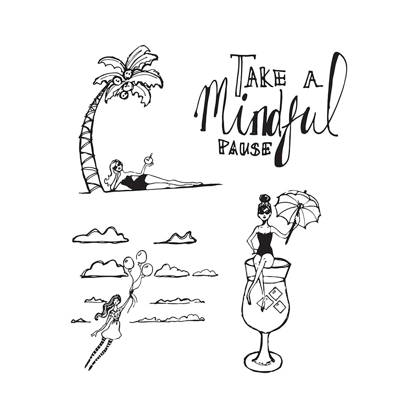 Spellbinders JDS-023 Mindful Pause from Artomology by Jane Davenport Clear Stamp Set,
