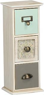 com-four® Mini cajonera con 3 cajones - Armario pequeño de Madera en diseño Vintage - Almacenamiento en Estilo Shabby Chic...