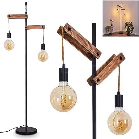 Lampadaire Aarhus en bois, corde et métal noir, luminaire rétro de 150 cm de haut idéal dans un salon vintage, avec interrupteur sur le câble, pour 2 ampoules E27 max. 60 Watt, compatible LED