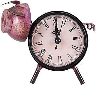 Niunion Horloge, Horloge de Bureau de Bureau Pendulettes de Bureau, Horloge à la Main rétro Cadre décoratif Horloge en mét...