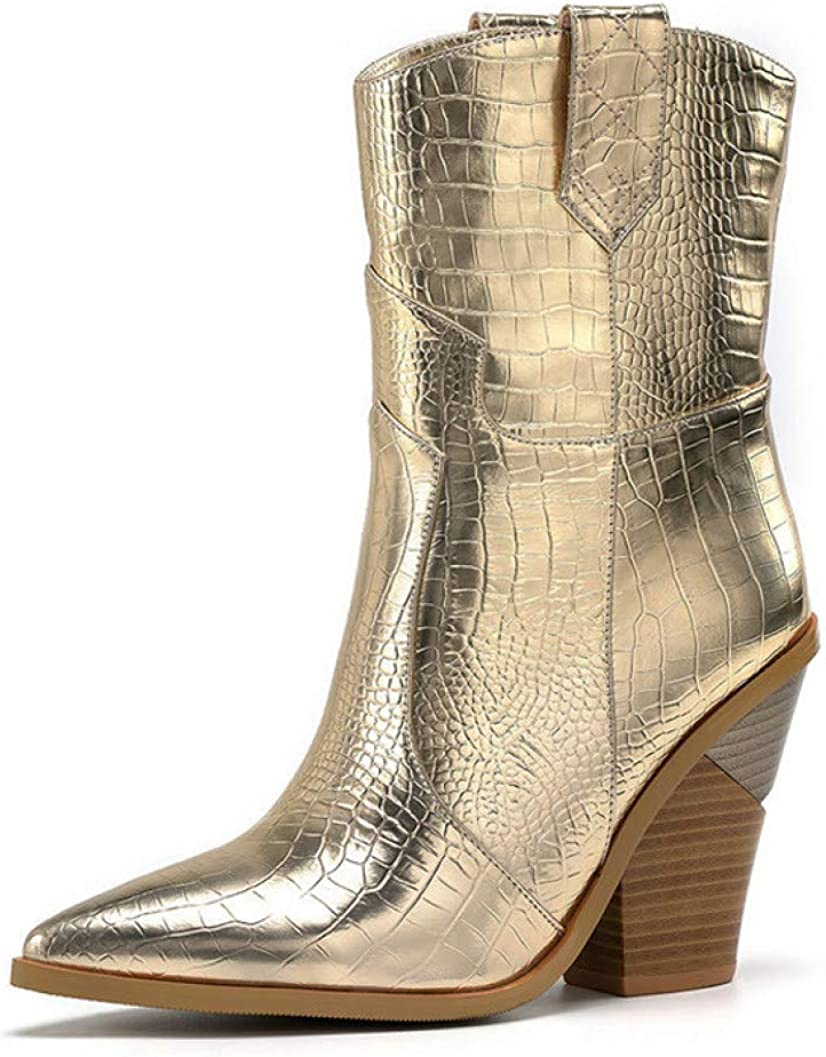 DOSOMI Womens Modern Western Mid Calf Booties Pointed Toe Cowboy Distressed Boot Wedge Heels Pull Up Tabs Bootie