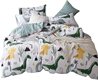 Soft Cotton Cartoon Dinosaur Bedding Sets Twin Boys Kids Duvet Cover Blue White Teens Adults 3 Pcs Girls Cover Duvet Set with 2 Pillow Shams Reversible Lightweight Home Textile Child Bed Set,Twin
