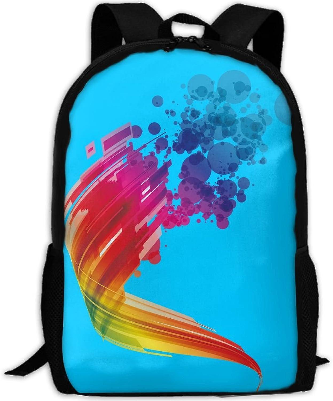 Backpack Laptop Travel Hiking School Bags Rainbow Bubble Daypack Shoulder Bag
