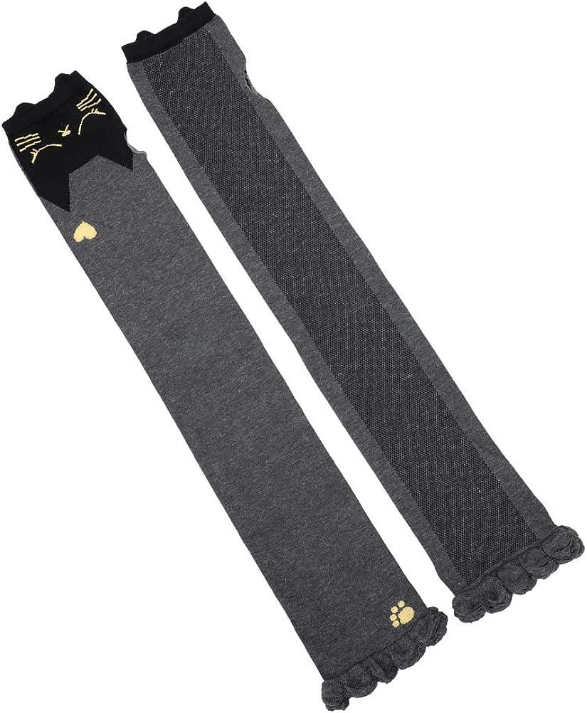 Women Long Sleeve Fingerless Sunblock Gloves UV Protection Mittens Cat CharcoalGrey