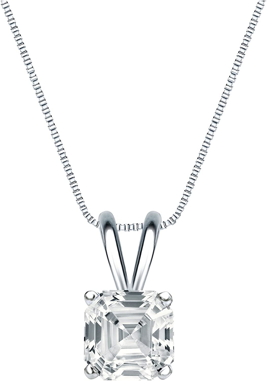 Recommended Platinum 4-Prong Basket Asscher-Cut Diamond Pendant Solitaire 1 latest