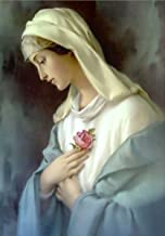 DIY 5D Diamond Painting by Number Kit, LPRTALK Full Drill Diamonds Painting Religion Virgin Mary Rhinestone Embroidery Cross Stitch Supply Arts Craft Canvas Wall Decor 12X16 inches