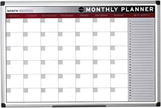 Bi-Office Earth - Planning Mensual, 90 x 60 cm, Pizarra de Planificación Magnética con Marco de Aluminio