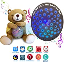 Baby Sound Machine - Teddy Bear Lullaby White Noise Machine with Adjustable Nightlight, Projector and 15 Calming Sounds to Soothe Your Baby to Sleep