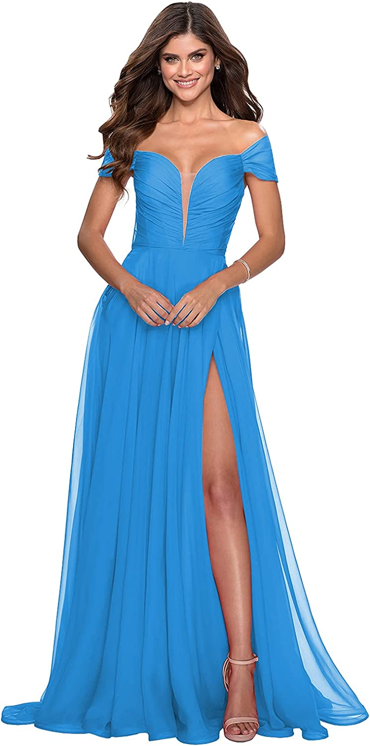BONOYUER Women's Off The Shoulder Bridesmaid Dresses Long Slit Pleated Chiffon Formal Party Prom Evening Gown with Pockets