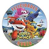 OBLEA de Papel de azúcar Personalizada, 19 cm, diseño de Super Wings