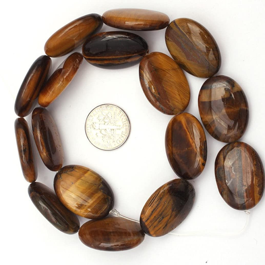 JOE FOREMAN 18x25mm Tiger Eye Semi Precious Gemstone Oval Loose Beads for Jewelry Making DIY Handmade Craft Supplies 15