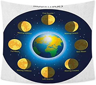jecycleus Educational Grateful Dead Tapestry Circular Frame Showing Basic Phases of Moon Calendar Cosmos Universe Wall Decor for Bedroom Tapestry W55 x L55 Inch Blue Indigo Mustard