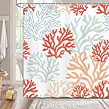MERCHR Duschvorhang-Set mit nautischen Korallen, rosa rote Korallen, Duschvorhang tropisches Riff, Stoff-Duschvorhang für Badezimmer-Haken im Lieferumfang enthalten, 174 x 178 cm