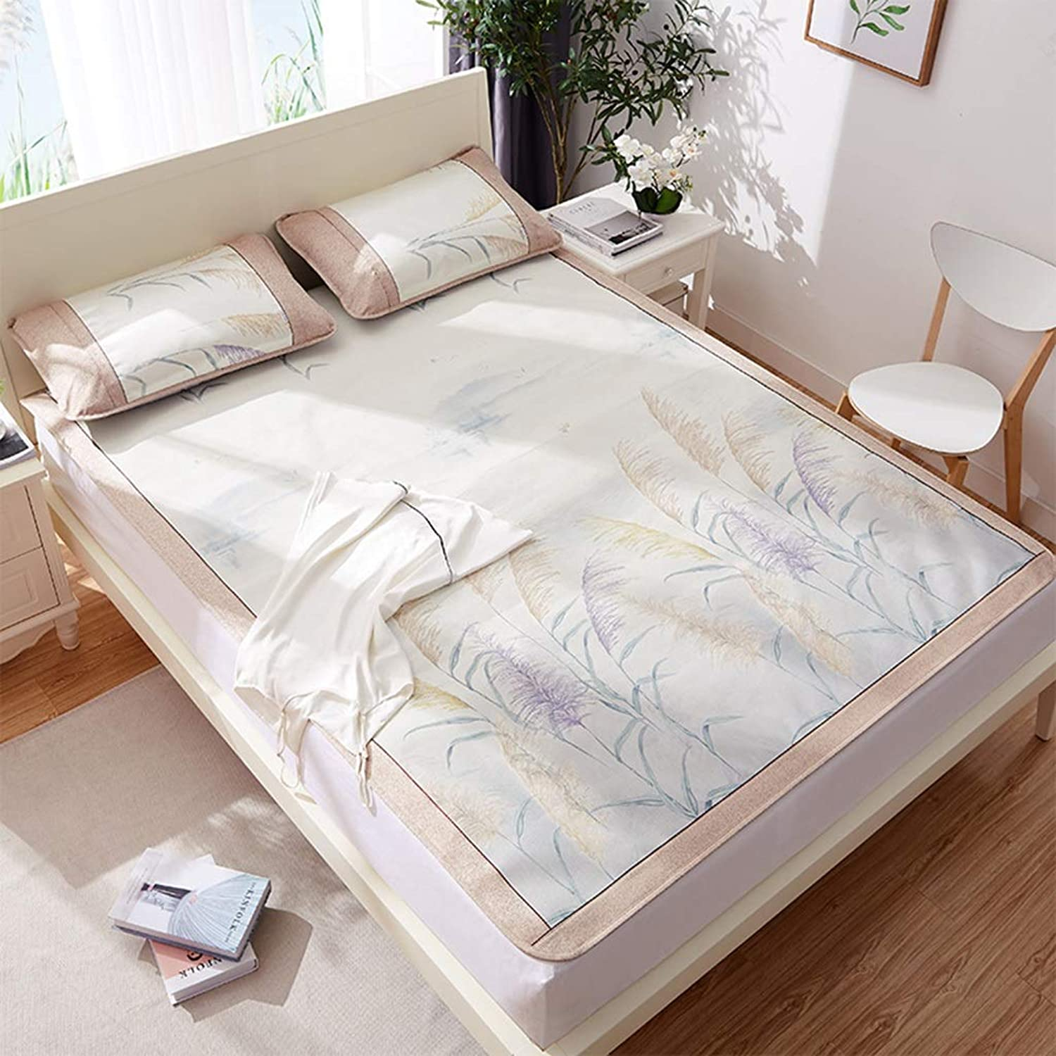 Ice Silk Mat Summer Air-Conditioned Foldable Cool Mat Three-Piece 1.5m 1.8m Bed (color   Light Pink, Size   180  200cm)