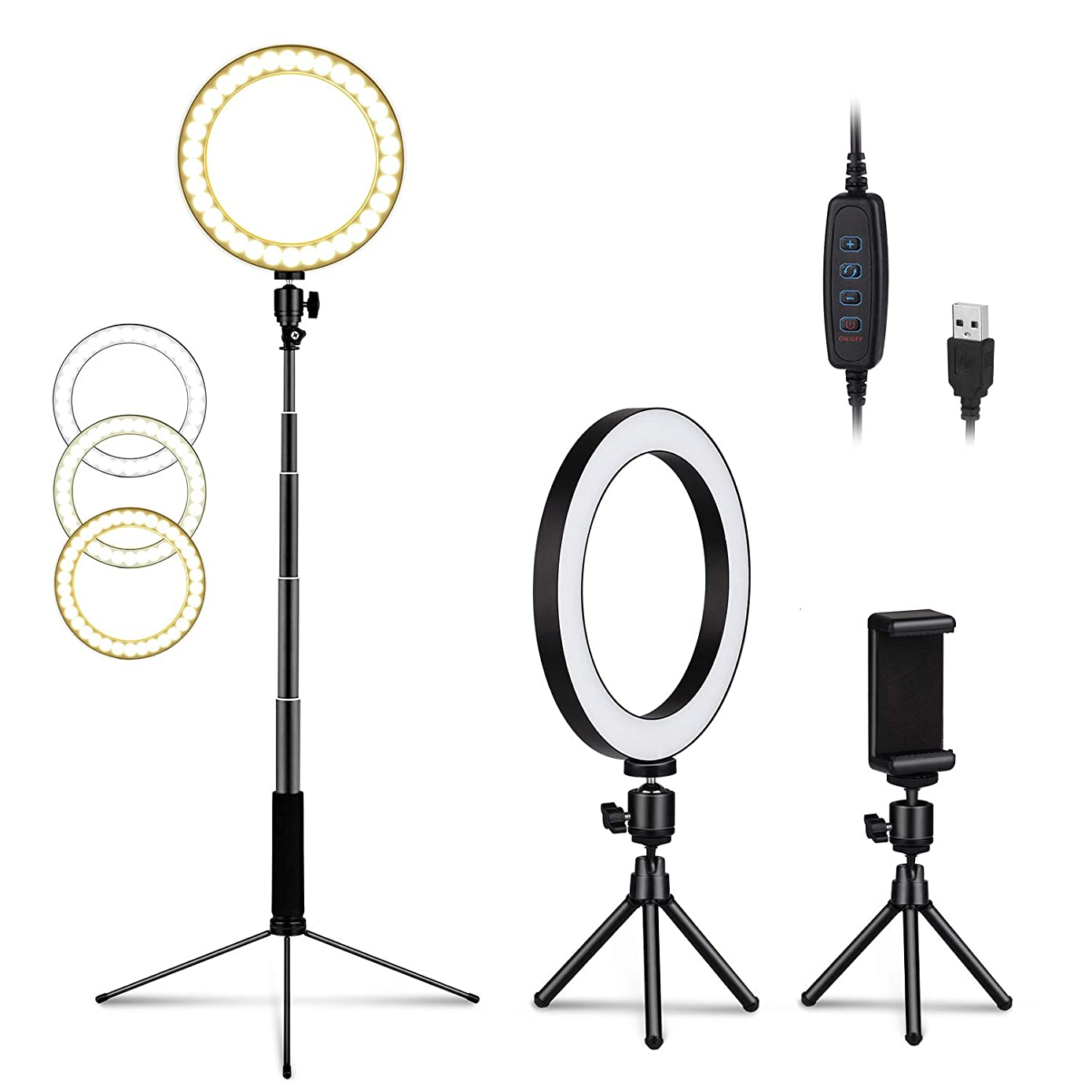 LEDGLE Upgraded Selfie Ring Light with Tripod Stand & Cell Phone Holder & Selfie Stick 8