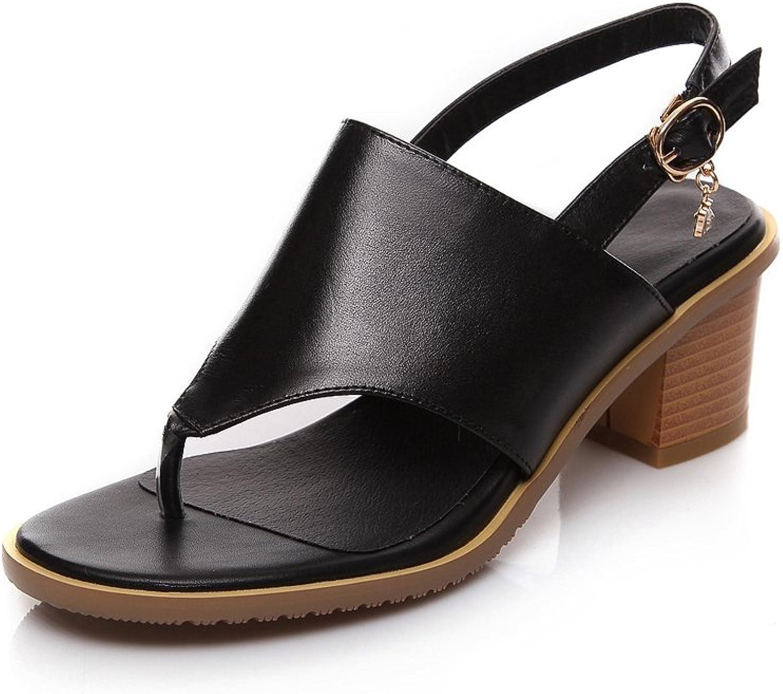 Lucksender Womens New Summer Split Toe Kitten Heel Buckle Sandals