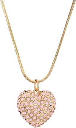 Puffy Pave Heart Pendant Necklace