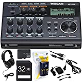 Tascam Compact Portastudio 6 Track Digital Recorder with Built in Microphone (DP-006) w/Bundle + 32GB SDHC Memory Card + AA Charger with 4 AA Batteries + Closed-Back Headphones AC Adapter