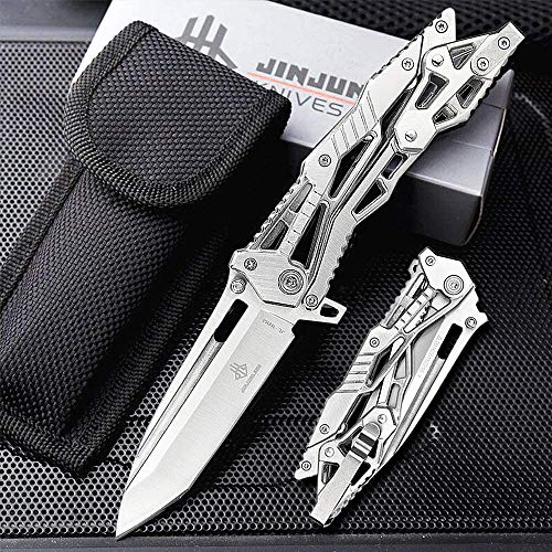 NedFoss Zweihand Klappmesser, Zweihand- Messer besteht aus hochwertiger Edelstahlklinge, Outdoor Survival Messer丨Scharfes EDC Messer mit Gürtelclip, Sliber