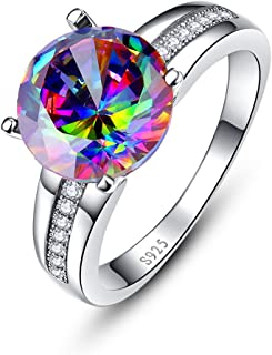 Silver Rings for Women 925 Sterling Silver Solitaire Engagement Ring with 10x10mm Round Cut Created Mystic Rainbow Topaz
