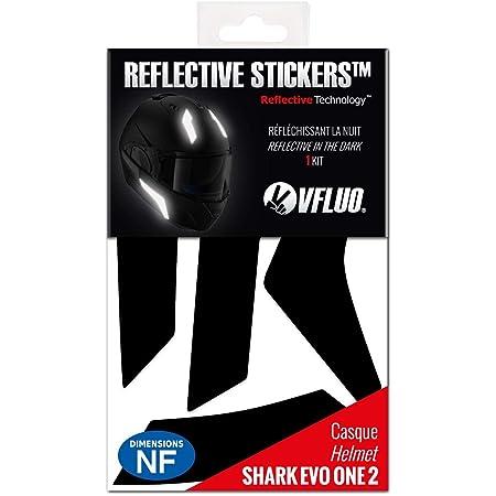 VFLUO Evo-ONE2™, Kit 5 Stickers rétro réfléchissants Casque Shark Evo-ONE2™ et adaptables Multi-modèles Casques Moto, 3M Technology™, Noir