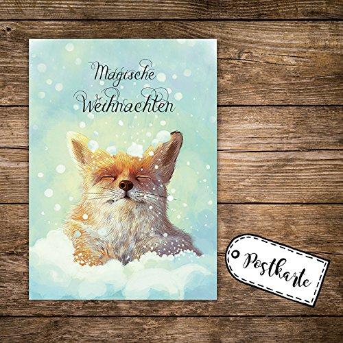 ilka parey wandtattoo-welt A6 Weihnachtskarte Postkarte Print Fuchs im Schnee mit Spruch Magische Weihnachten pk142