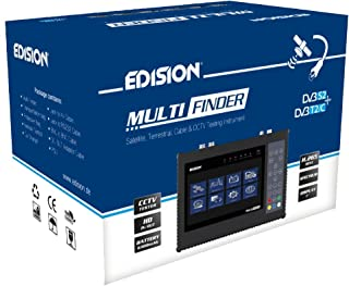 Edision Multi-Finder manometro per satellitare DVB-S/S2terrestre DVB-T/T2cavo DVB-C segnali H.265/HEVC & CCTV Tester, Nero
