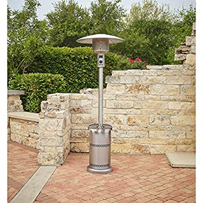 Mosaic Patio Heater with Table Stainless Steel Outputs up to 48,000 BTU of heat to warm areas up to 250 sq. ft.