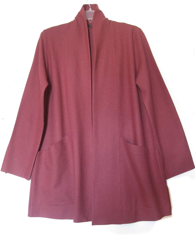 Eileen Fisher Monterey Boiled Wool Jersey Long Cardigan