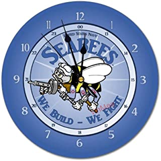 VinMea Wall Clock,U.S. Navy Seabee,Silent, no Ticking, Home Decoration, 11.8x11.8 inches