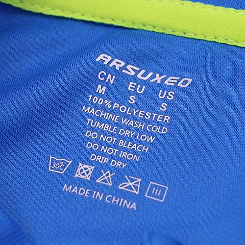 Arsuxeo Herren-Fahrradtrikot, enge Passform, Kurzarm, Fahrrad, MTB-Shirt, Herren, blau, US S - 5